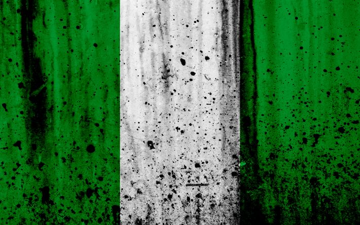 Download wallpapers Nigeria flag, 4k, grunge, flag of Nigeria, Africa, Nigeria, national symbols, Nigeria national flag