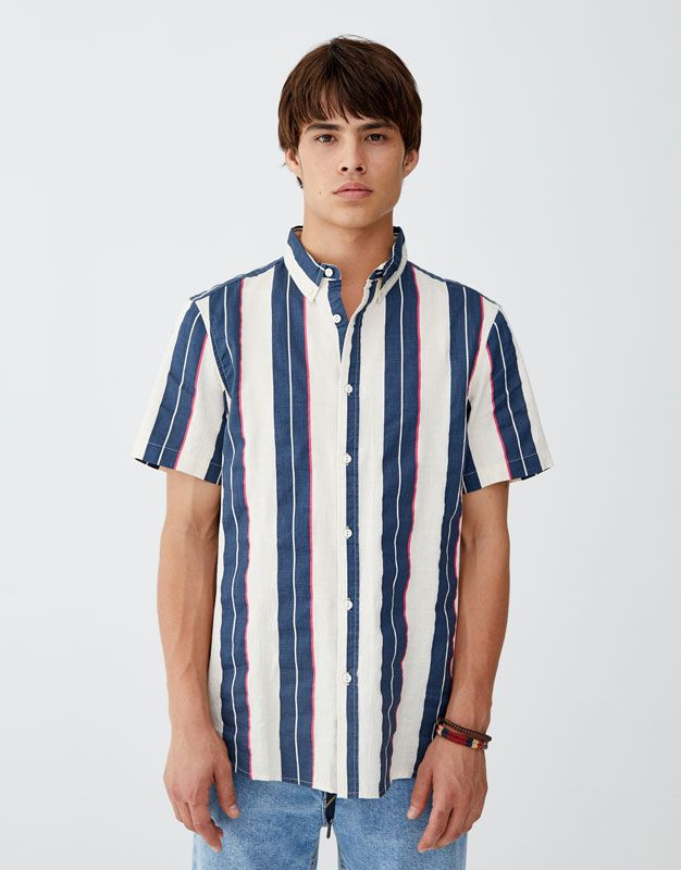 08ac67249b Camisa de hombre de manga corta estilo vintage con estampado de rayas  verticales