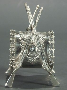 double rifle silver napkin ring