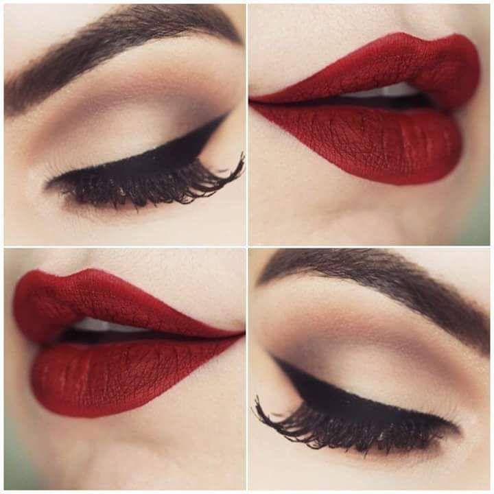 Maroon Lips And Simple Eye Makeup