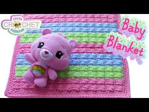 Crochet Bobble Stitch Baby Blanket Pattern - YouTube