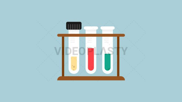 An icon of test tubes in a wooden support filled with differentsubstances one green one red and one yellow. Designed in flat design style. Three version are included:in/out loop andin (can be extended with the loop version) Clip Length:10 seconds Loopable: Yes Alpha Channel: Yes Resolution:FullHD Format: Quicktime MOV