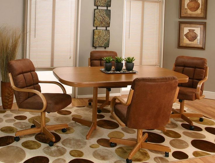 New swivel tilt dining dinette 4 chairs on casters and for Dining room table with swivel chairs