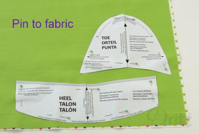 Sewing Tutorial: How to Make a Pair of Espadrilles. Get started by pinning the sewing patterns (in package & on our Dritz website) to your fabric.