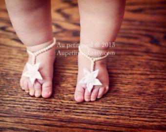 Sandalias Descalzas blanco bebé sandalias Descalzas por Aupetitpied