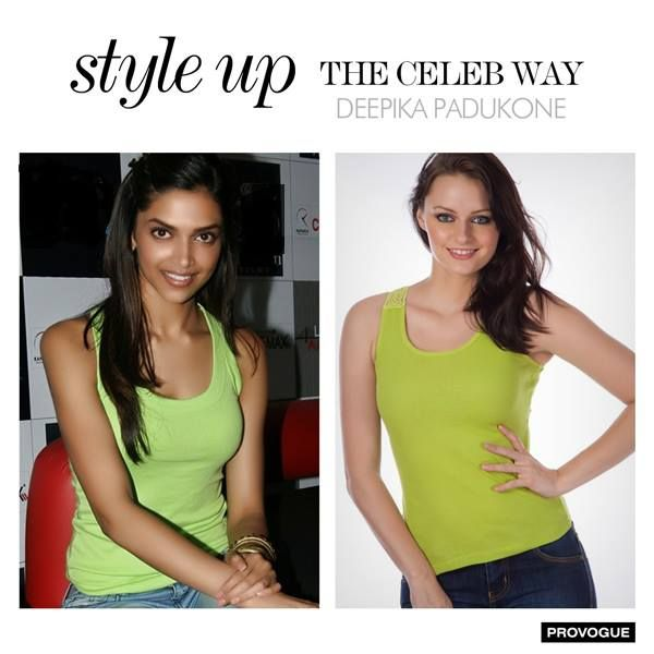 Deepika Padukone shows us that even a simple tank top can look amazing! We have similar collection of tank tops with back detailing, buy them now from www.provogue.com