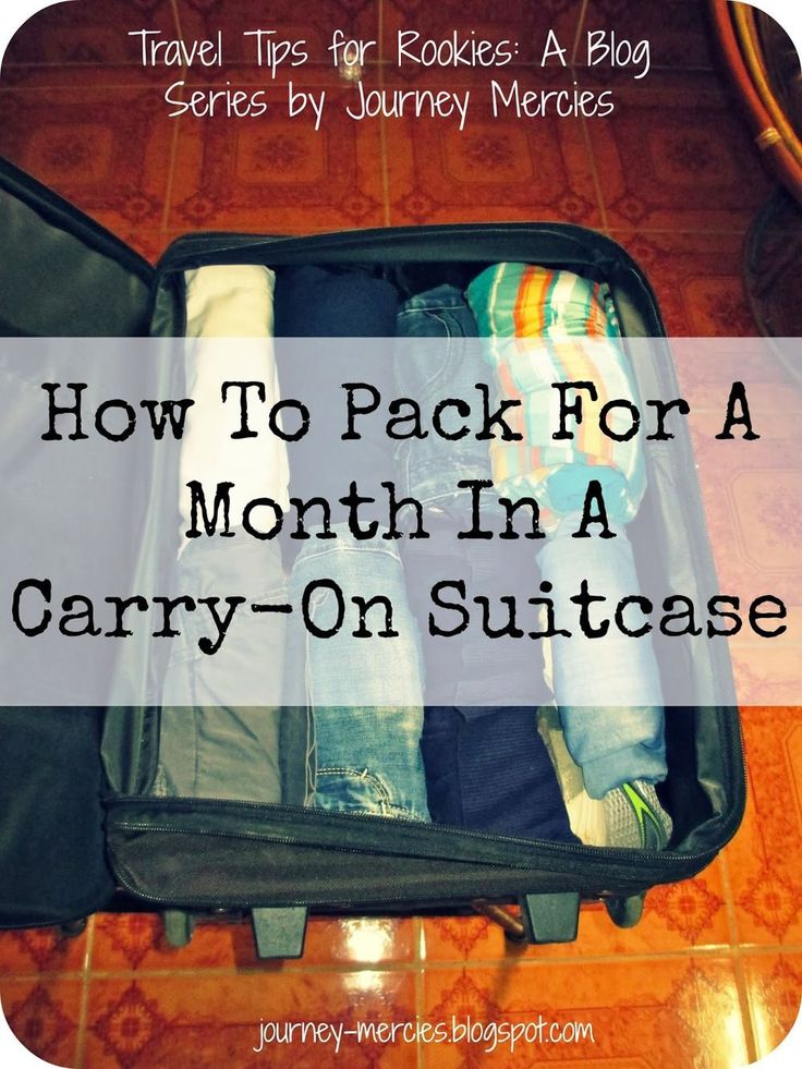 How to Pack for a Month in a Carry-On Suitcase - Great tips for packing light. I'm going to try and take about the same amount of stuff on the honeymoon, and use a regular sized suitcase to leave plenty of space for souvenirs.