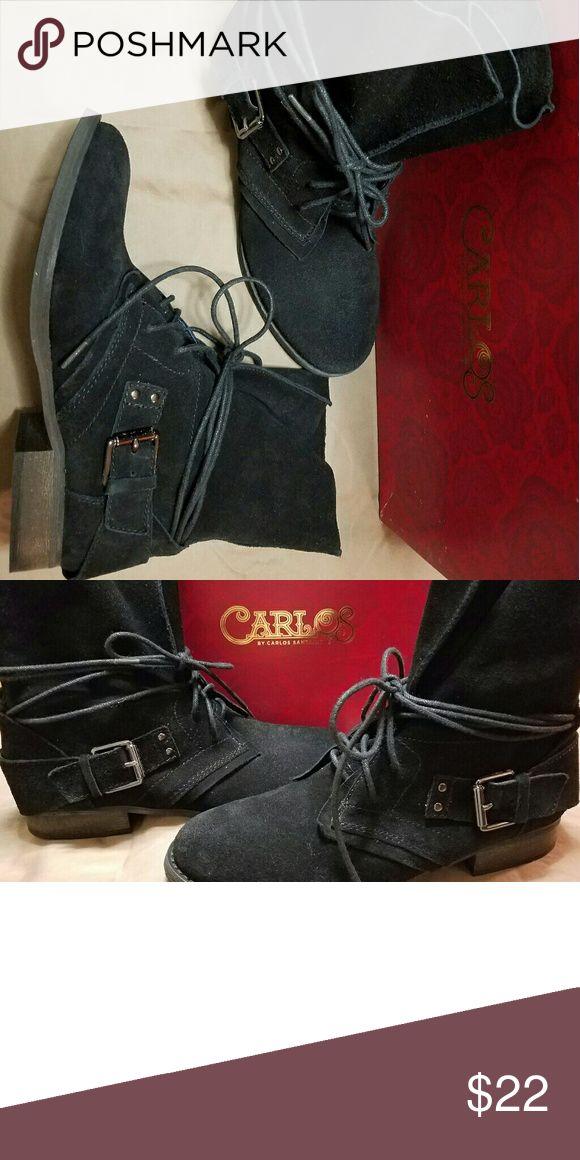 NIB Carlos Santana Vicksburg Black Bootie sz 7 Lace up black Bootie from Carlos by Carlos Santana. Silver buckle on side.  Women's size 7. Original price $119.00 Carlos Santana Shoes Ankle Boots & Booties