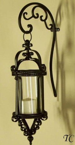 iron wall sconces | Wall Sconces: Tuscany Wrought Iron Scroll Wall Candle Lantern Sconce