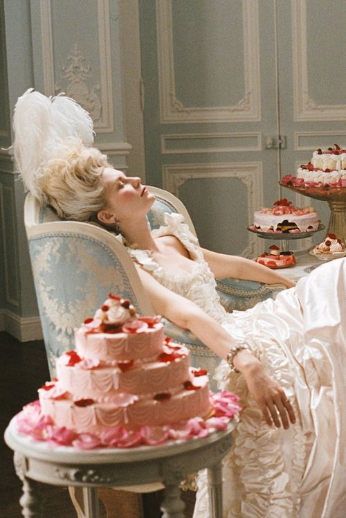 Kirsten Dunst in Sofia Coppola's Marie Antoinette. My mind's picture every time I think of wedding cake.
