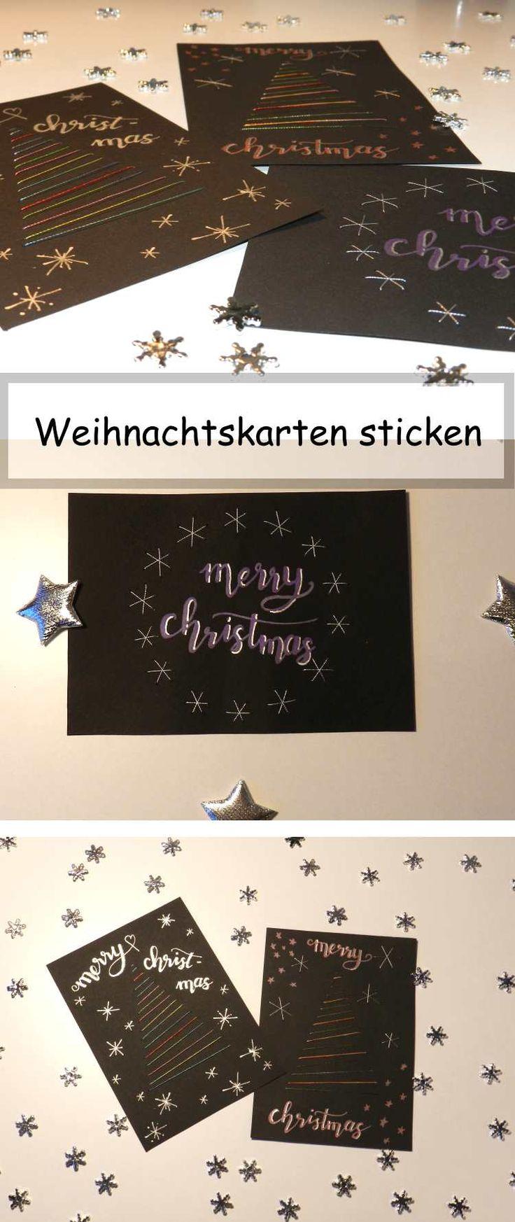 DIY Weihnachtskarten selbermachen - besticke deine Karte mit glitzerndem Garn und verschick selbstgemachte Karten zu Weihnachten! DIY Anleitung für eine Weihnachtskarte. #DIY #DIYKarte #Karte #Weihnachten #Weihnachtskarte #Selbermachen #Sticken