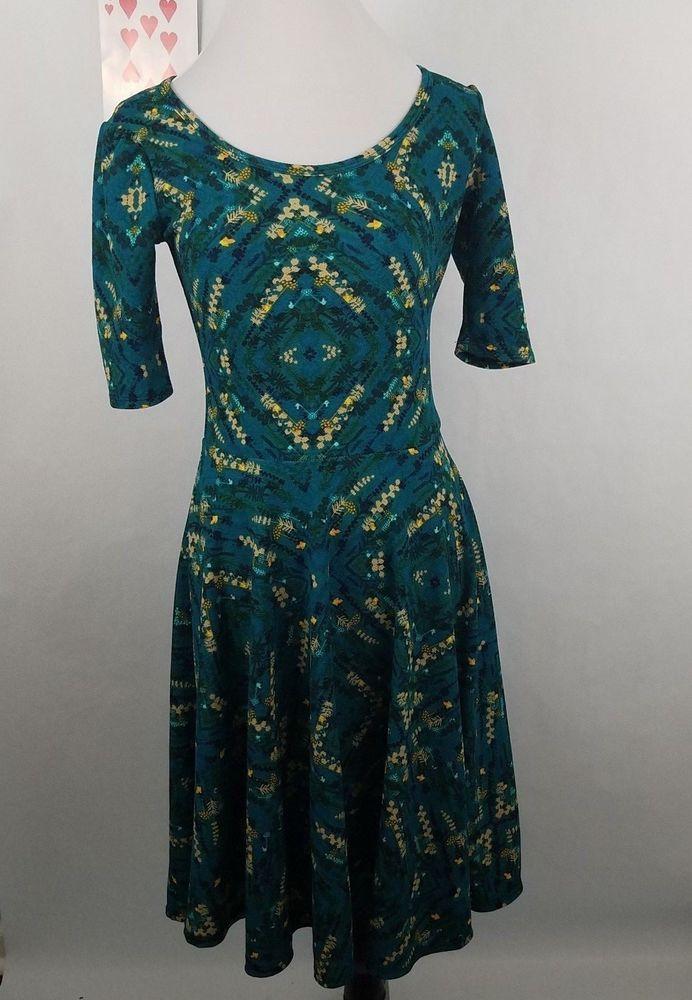 Lularoe womens size small dress nicole turquoise green hurricane eye floral #LuLaRoe #Work