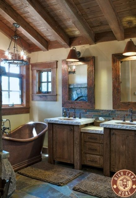 rustic frames around the mirrors and windows, marble countertops : 46 Bathroom Interior Designs Made In Rustic Barns