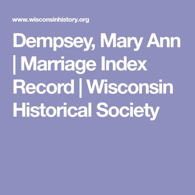 Dempsey, Mary Ann | Marriage Index Record | Wisconsin Historical Society