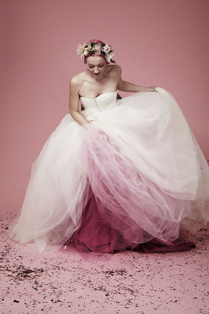 pink dip dye wedding dress