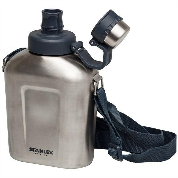 STANLEY   Adventure 1L Canteen with Shoulder Strap  - Brushed S/Steel