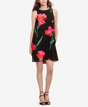 Lauren Ralph Lauren Floral-Print Trapeze Dress - Black/Pink Multi 16