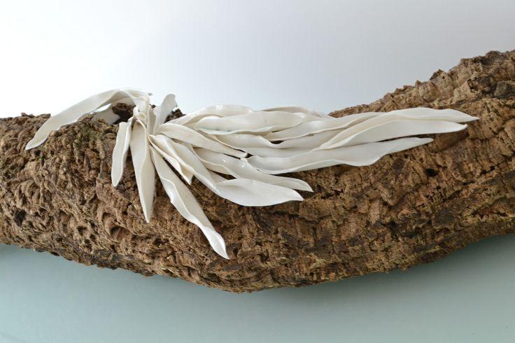 leaves installation - paperclay porcelain, cork, metal oxide, transparent glaze