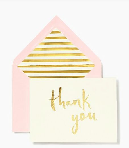 Grand gestures, kind words and little acts of love call for a handwritten notes on pretty, personalized stationery. This sweet blush and gold Kate Spade Paint Brush Thank You Card Set lets your show y