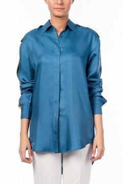 Bottega Veneta Kadın Mavi Saten Mavi Gömlek https://modasto.com/bottega/kadin-ust-giyim-gomlek-bluz/br13121ct4