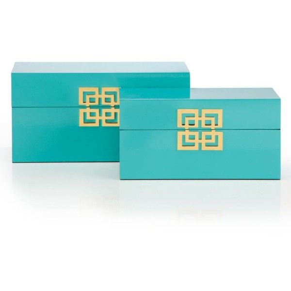 Ming Boxes - Set of 2 ($60) ❤ liked on Polyvore featuring home, home decor, small item storage, hinged lid box, hinged storage box, geometric home decor, storage boxes and lidded box