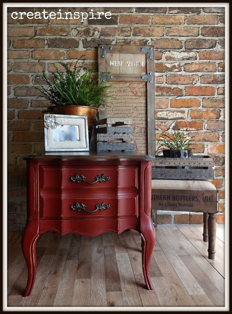 Bassett Side Table in Tuscan Red from General Finishes. Gorgeous pop of color for a room.