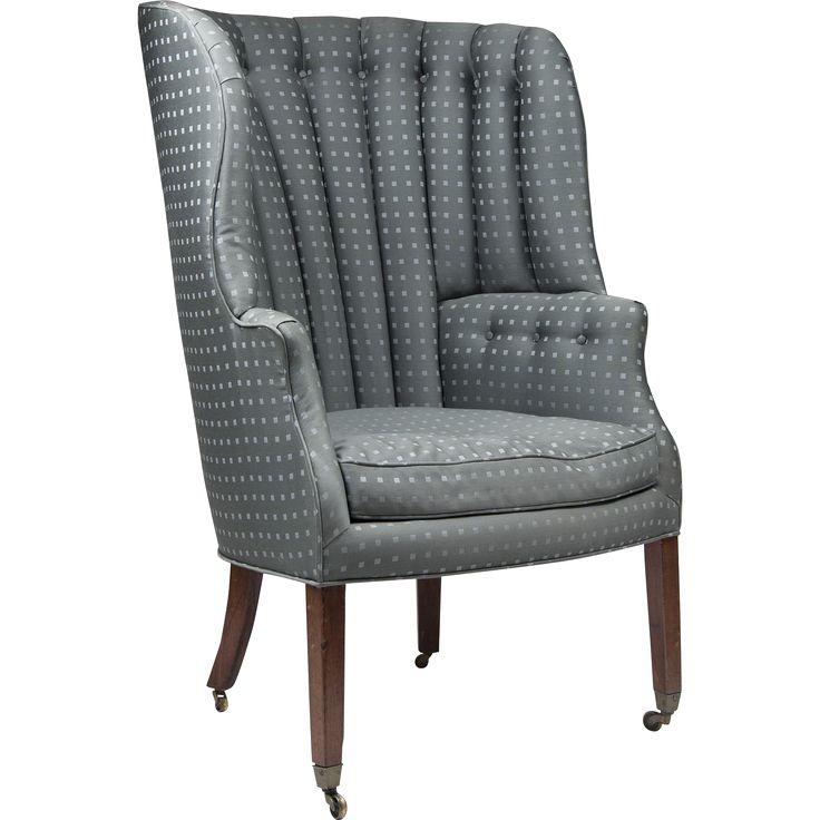19th c english georgian barrel back library wing chair