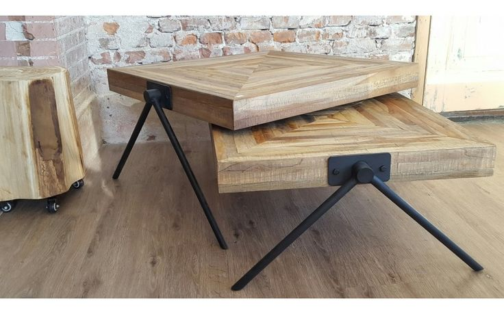 Stoere industriële salontafel met metalen poten - Max Wonen Havelte