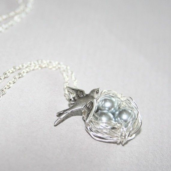 Bird Nest Necklace, Nest with Three Eggs Necklace, Mother and Daughter Necklace, Gift Ideas, Love Necklace.  This necklace is made with a bird nest - wrapped with silver tarnish resistant wires. Three Swarovski grey pearls are perfectly nestled. A silver bird has been positioned above the
