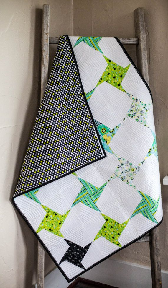 Lime Green and Black Baby Quilt, Pinwheel Baby Quilt, Origami Art Quilt