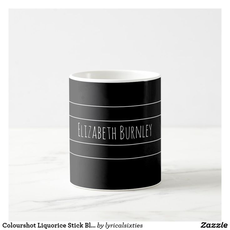 Colourshot Liquorice Stick Black with Your Name Coffee Mug Don't loose your mug or coaster at the office, put your name on it! This simple, stylish mug with its elegant, thin, white stripes can be personalized with your name in a stylish script, and there is a matching coaster.
