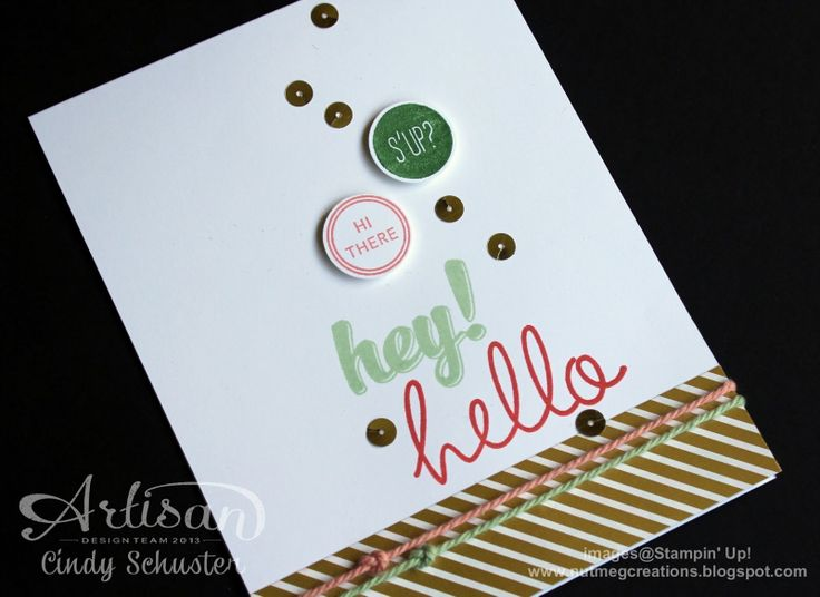 Cindy's CAS card: Hi There and Gold Soiree dsp. All supplies from Stampin' Up!: Cards Ideas, Crafts Ideas, Crafts Cards, 2014 Annual, 2014 2015 Stampin, Cas Cards, Hi There Stampin Up, 2014 15 Stampin, Paper Crafts