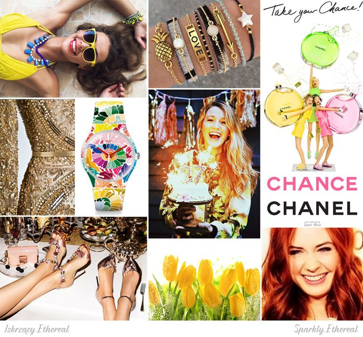 Sparkly Ethereal moodboard. One of 18 beauty types created by GretaKredka. Sparkle, shine, sequins, glitter, beading, caleidoscopic patterns, exposing shoulders and legs, warm shades of hair color. Color essence: True Spring.