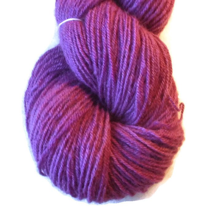 Amaranth Red Handdyed Corriedale Wool DK Weight Yarn, 3-ply, For Knitting, Crochet and Felting, Red Hand Dyed Wool Yarn, Made in Denmark