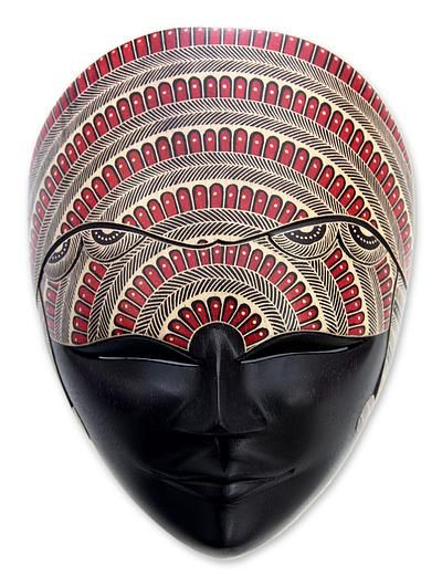 Handmade Batik Wood Mask - Peacock Queen | NOVICA