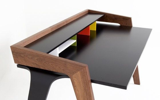The LD Desk by Jon Goulder is obviously inspired by the iconic George Nelson Swag Desk, but with a bit of a more masculine, substantial form