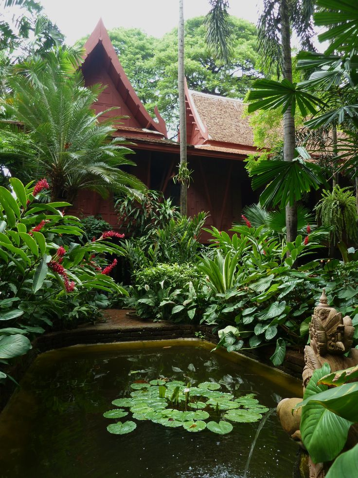 Jim Thompson garden, Thailand | Dwarf date palm, ginger (Alpinia purpurata), water lily, peace lily, Variegated crinum, Palms (including Licuala sp.)