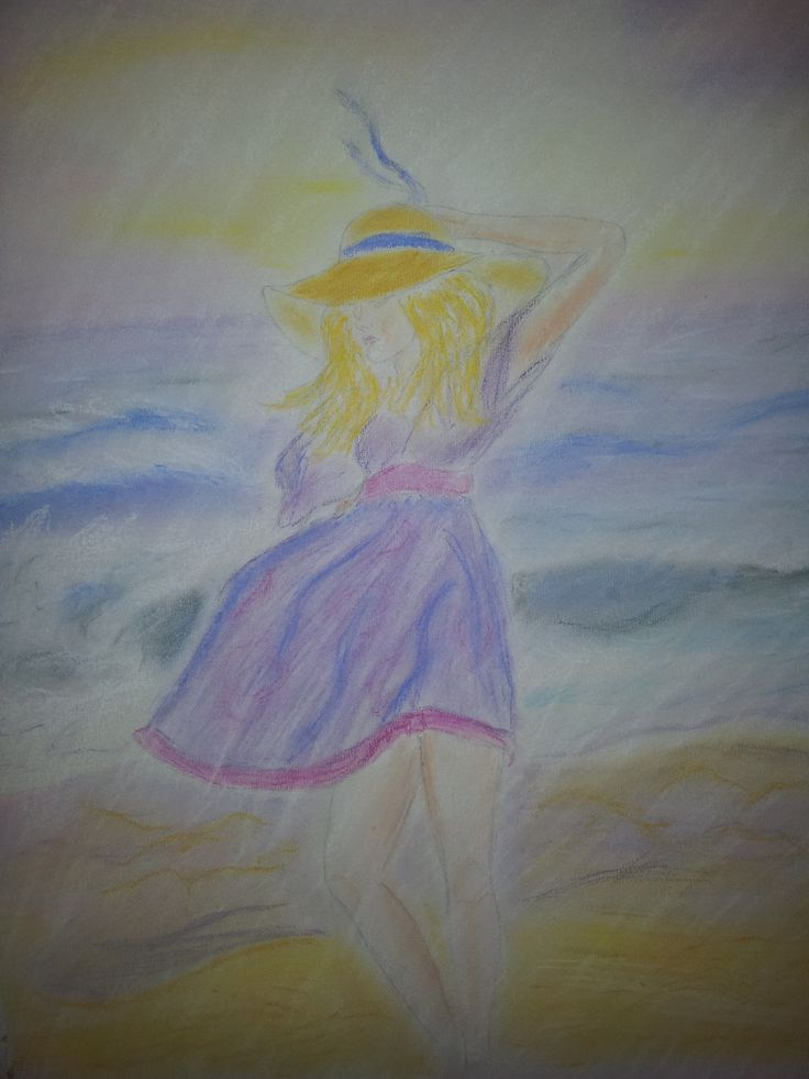 Denise Michelle Pol, A walk on the beach, 2010, pastel on paper.