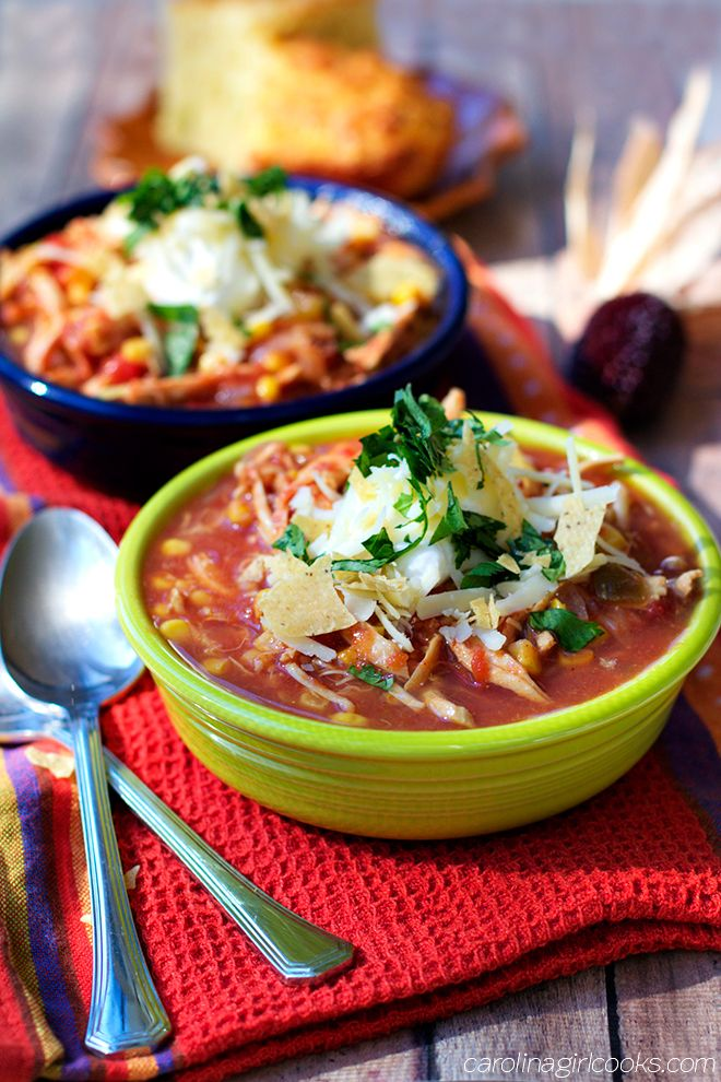 Chicken Tortilla Soup pinned via: Carolina Girl Cooks http://www.carolinagirlcooks.com/chicken-tortilla-soup-3/