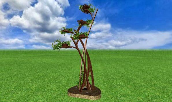 escultura de metal de diseño artistico para un jardin de lujo acabado hierro oxidado foto 2