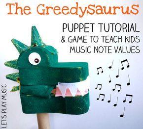 O dinossauro que come notas - com música. Tutorial em: http://www.letsplaykidsmusic.com/music-note-value-game/ Dinosaur puppet craft & music note values game