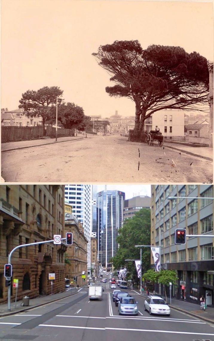 Bridge Street, Sydney in 1870 and 2009.    [1870: Trove/State Library of NSW - 2009: Google Street View/by Phil Harvey]
