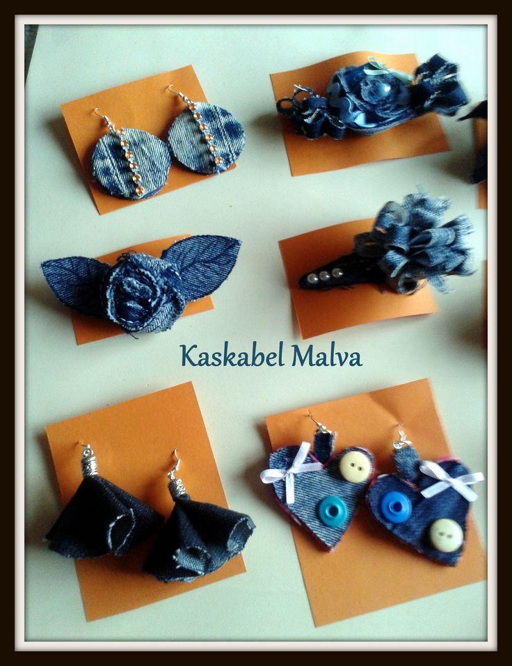 Denim jewelry , Bisutería en tela vaquera reciclada. Kaskabel Malva.