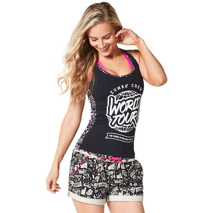 CITY SWAG RACERBACK - BACK TO BLACK --------------------- Conquer the Concrete Jungle in the City Swag Racerback.  With an all over graffiti-inspired print on the back and the World Tour logo on the front, this top will be the talk of the town. Zumba Tank.