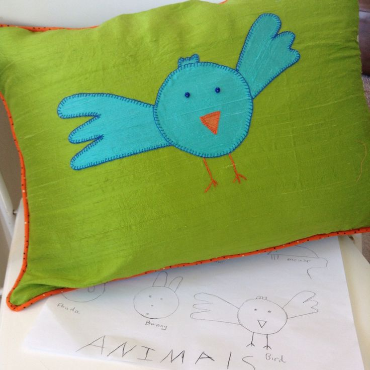 Silk cushion made from my granddaughter's design