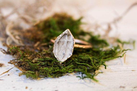 Herkimer Diamond Ring - Raw Stone Engagement Ring / http://www.himisspuff.com/engagement-rings-wedding-rings/12/