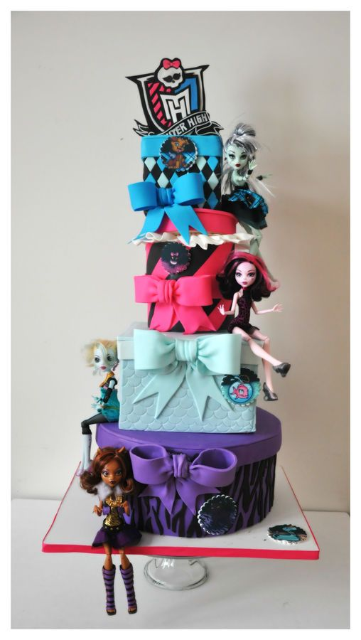 This is an awesome cake. Too bad we don't need one that big.  Monster High Birthday Cake - sign made of gum paste.