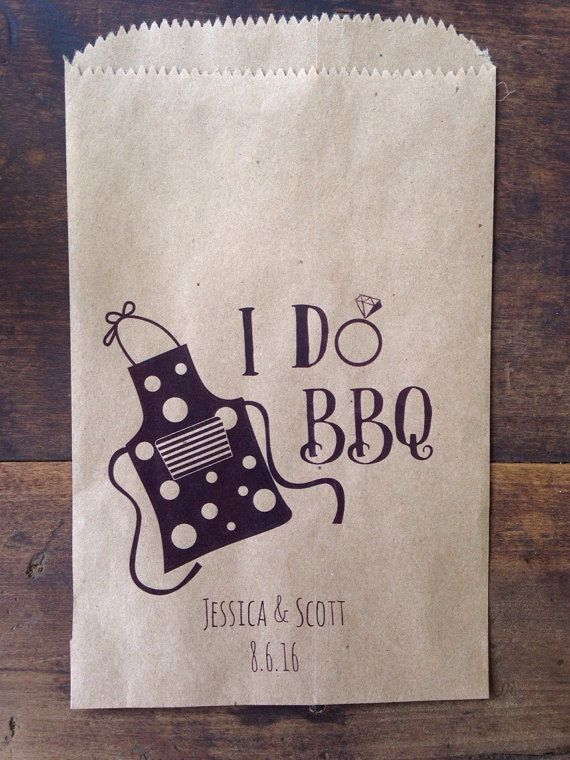 These I DO BBQ utensil bags are a charming conversation at your tables and are perfect to hold necessities & more for your guests. Be it an outdoor BBQ or a sit down meal, these favor bags are charming & useful. Use for weddings, engagement barbeques or outdoor showers. Order here in packs of 25 here, or convo me for large orders... 5x7.5 flat, plain recycled paper Add earth-friendly utensils, napkin, a wet wipe & a sitck of gum or mints- maybe even a fun facts or trivia card ab...