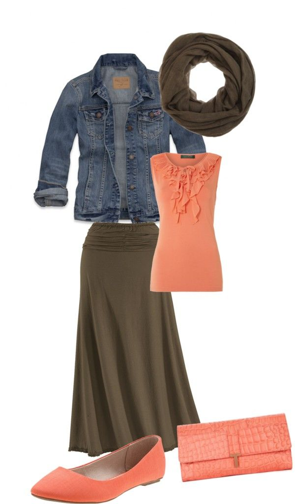 Peach Lauren by Ralph Lauren Sleeveless ruffle v neck top, Vintage Denim Jacket , Coffee Ruched Maxi Skirt , URGE BURN ORANGE LINEN FABRIC SINGLE FLAT ALMOND TOE BALLET FLAT, Exotic embossed peach leather clutch, Kakhi Cashmere twill eternity scarf with unfinished edge