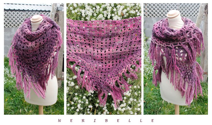 Crochet triangle shawl/scarf More knitwear: https://www.facebook.com/pages/Neribelle/180901425396019?ref=hl